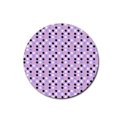 Black White Pink Blue Eggs On Violet Rubber Coaster (round)