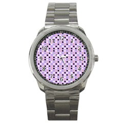 Black White Pink Blue Eggs On Violet Sport Metal Watch