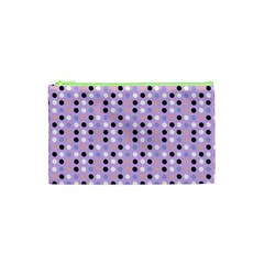 Black White Pink Blue Eggs On Violet Cosmetic Bag (xs)