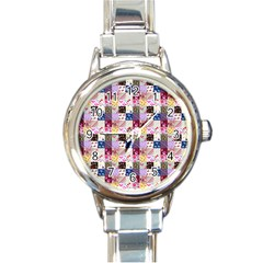 Quilt Of My Patterns Small Round Italian Charm Watch