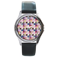 Quilt Of My Patterns Small Round Metal Watch