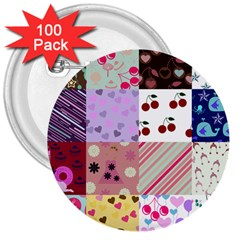 Quilt Of My Patterns 3  Buttons (100 Pack)