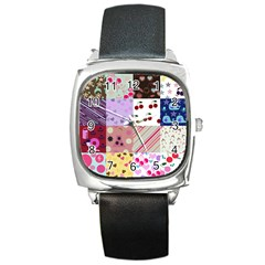 Quilt Of My Patterns Square Metal Watch