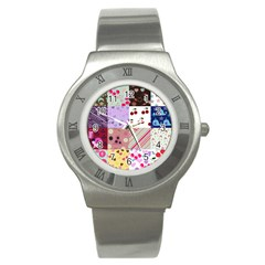 Quilt Of My Patterns Stainless Steel Watch