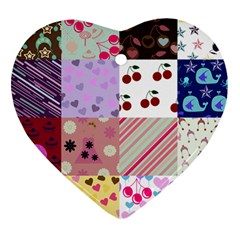 Quilt Of My Patterns Heart Ornament (two Sides)