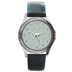 Peach Pink Eggs On Green Round Metal Watch