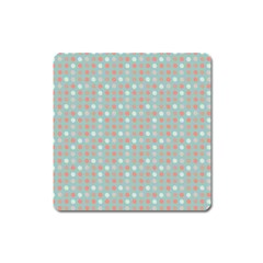 Peach Pink Eggs On Green Square Magnet