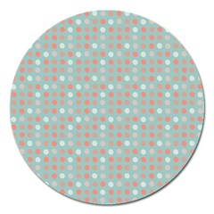 Peach Pink Eggs On Green Magnet 5  (round)
