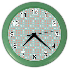 Peach Pink Eggs On Green Color Wall Clocks