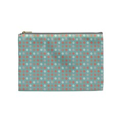 Peach Pink Eggs On Green Cosmetic Bag (medium)
