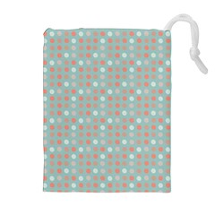Peach Pink Eggs On Green Drawstring Pouches (extra Large)