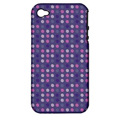 Violet Grey Purple Eggs On Grey Blue Apple Iphone 4/4s Hardshell Case (pc+silicone)