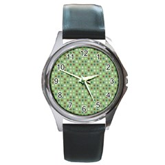 Green Brown  Eggs On Green Round Metal Watch