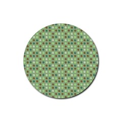 Green Brown  Eggs On Green Rubber Round Coaster (4 Pack)