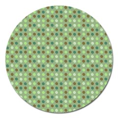 Green Brown  Eggs On Green Magnet 5  (round)