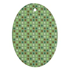 Green Brown  Eggs On Green Oval Ornament (two Sides)