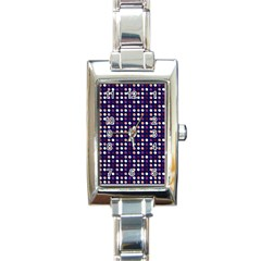 Peach Purple Eggs On Navy Blue Rectangle Italian Charm Watch