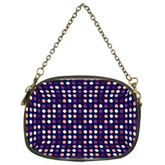 Peach Purple Eggs On Navy Blue Chain Purses (two Sides)