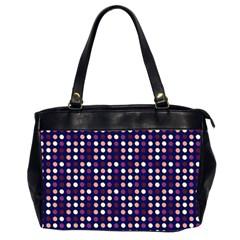 Peach Purple Eggs On Navy Blue Office Handbags (2 Sides)