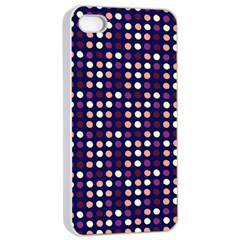 Peach Purple Eggs On Navy Blue Apple Iphone 4/4s Seamless Case (white)