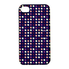 Peach Purple Eggs On Navy Blue Apple Iphone 4/4s Hardshell Case With Stand