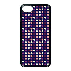 Peach Purple Eggs On Navy Blue Apple Iphone 7 Seamless Case (black)