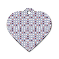 Pink Purple White Eggs On Lilac Dog Tag Heart (one Side)