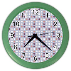 Pink Purple White Eggs On Lilac Color Wall Clocks