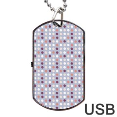 Pink Purple White Eggs On Lilac Dog Tag Usb Flash (two Sides)