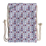 Pink Purple White Eggs On Lilac Drawstring Bag (Large) Front