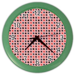 Grey Red Eggs On Pink Color Wall Clocks