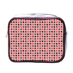 Grey Red Eggs On Pink Mini Toiletries Bags