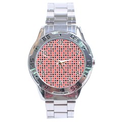 Grey Red Eggs On Pink Stainless Steel Analogue Watch