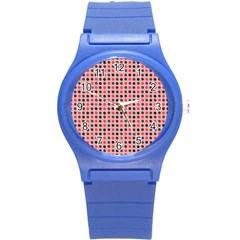 Grey Red Eggs On Pink Round Plastic Sport Watch (s)