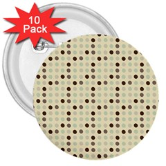 Brown Green Grey Eggs 3  Buttons (10 Pack)