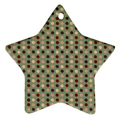 Grey Beige Burgundy Eggs On Green Star Ornament (two Sides)