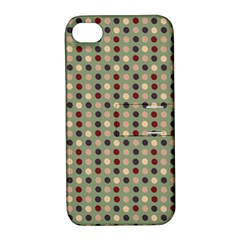 Grey Beige Burgundy Eggs On Green Apple Iphone 4/4s Hardshell Case With Stand