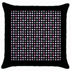 Pink Green Eggs On Black Throw Pillow Case (black)