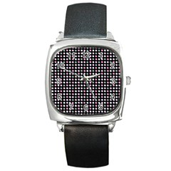 Pink Green Eggs On Black Square Metal Watch