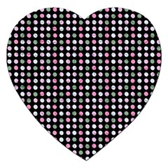 Pink Green Eggs On Black Jigsaw Puzzle (heart)