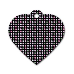 Pink Green Eggs On Black Dog Tag Heart (two Sides)