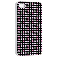 Pink Green Eggs On Black Apple Iphone 4/4s Seamless Case (white)