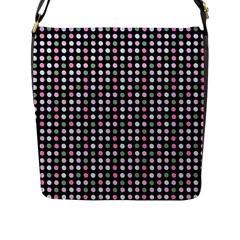 Pink Green Eggs On Black Flap Messenger Bag (l)