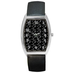 Black Music Notes Barrel Style Metal Watch