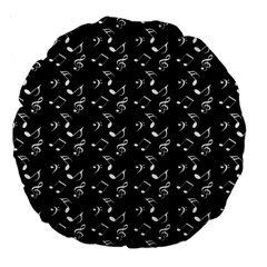 Black Music Notes Large 18  Premium Round Cushions