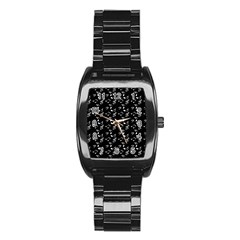 Black Music Notes Stainless Steel Barrel Watch