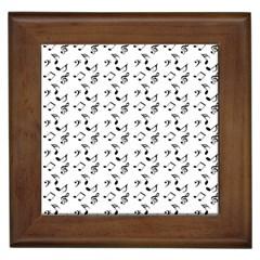 White Music Notes Framed Tiles