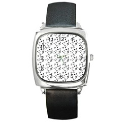 White Music Notes Square Metal Watch