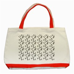White Music Notes Classic Tote Bag (red)