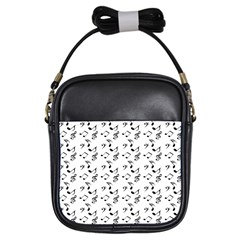 White Music Notes Girls Sling Bags